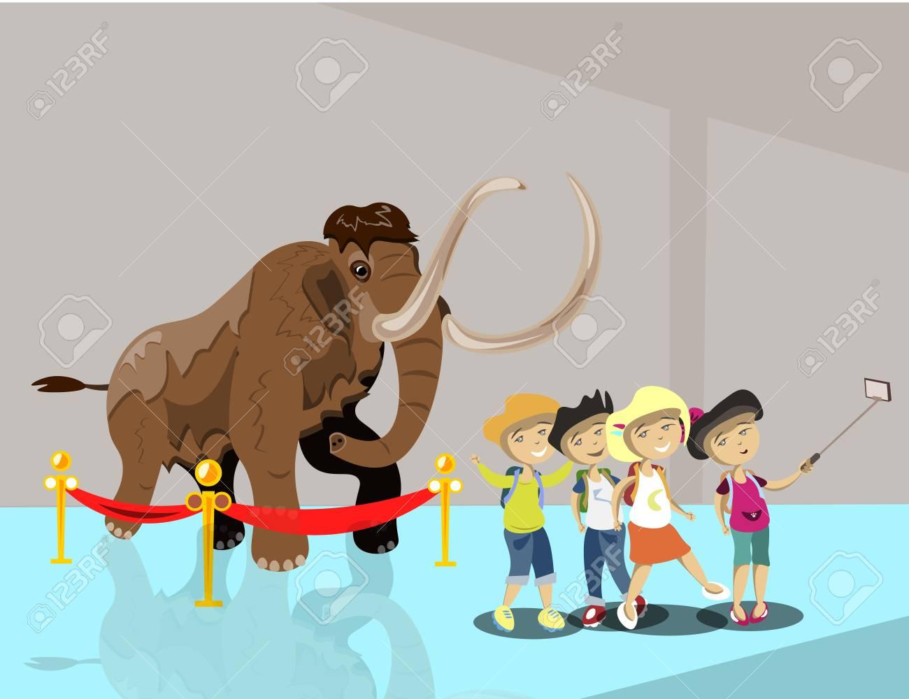 Kids in museum. Children make selfie - 93878043