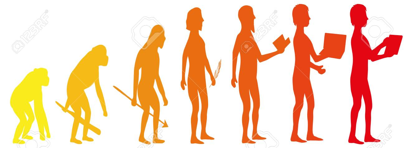 Silhouette evolution from monkey to man - 156943479