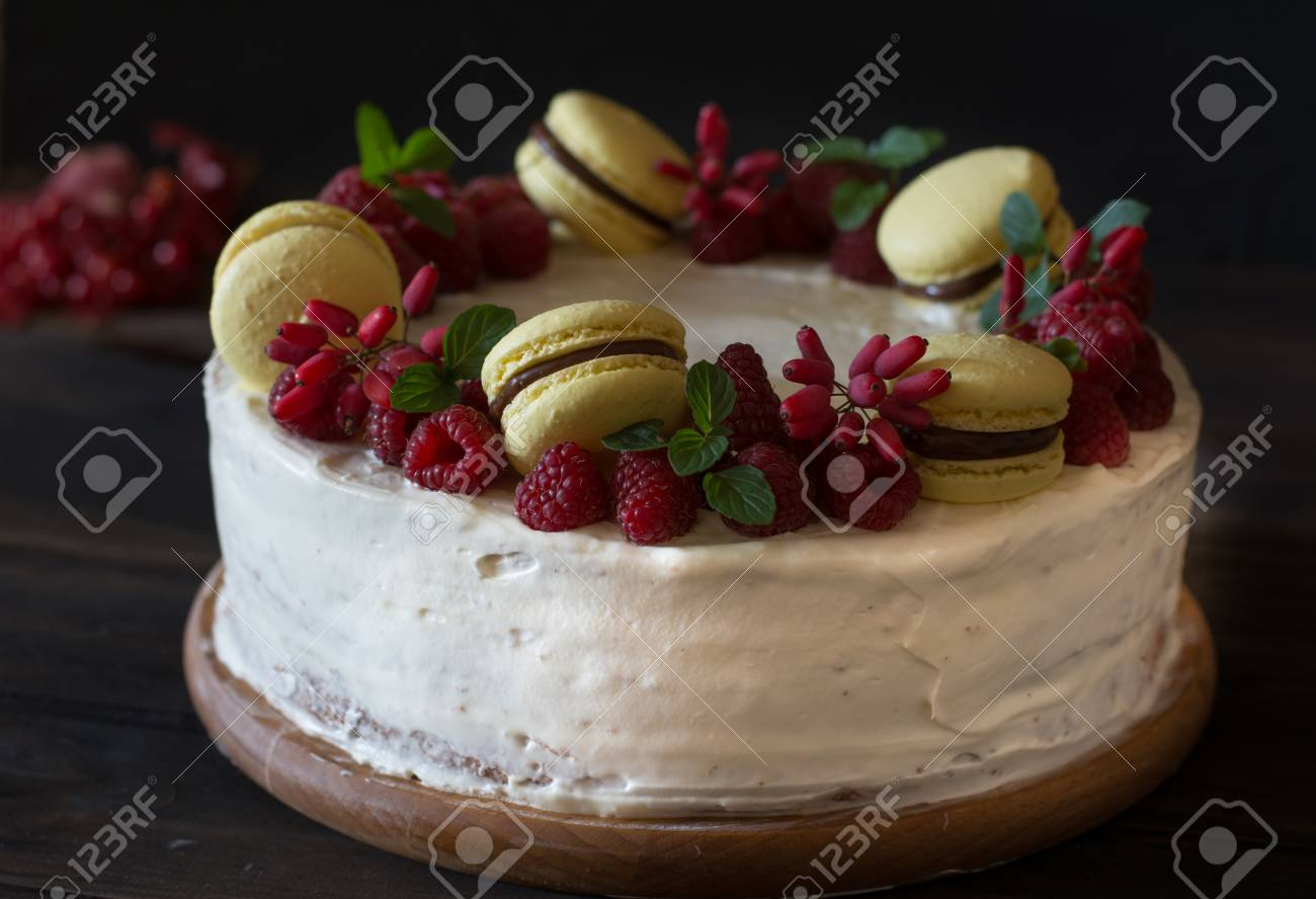 Raspberry Cake With Chocolate Barberry Cake Mint Decoration