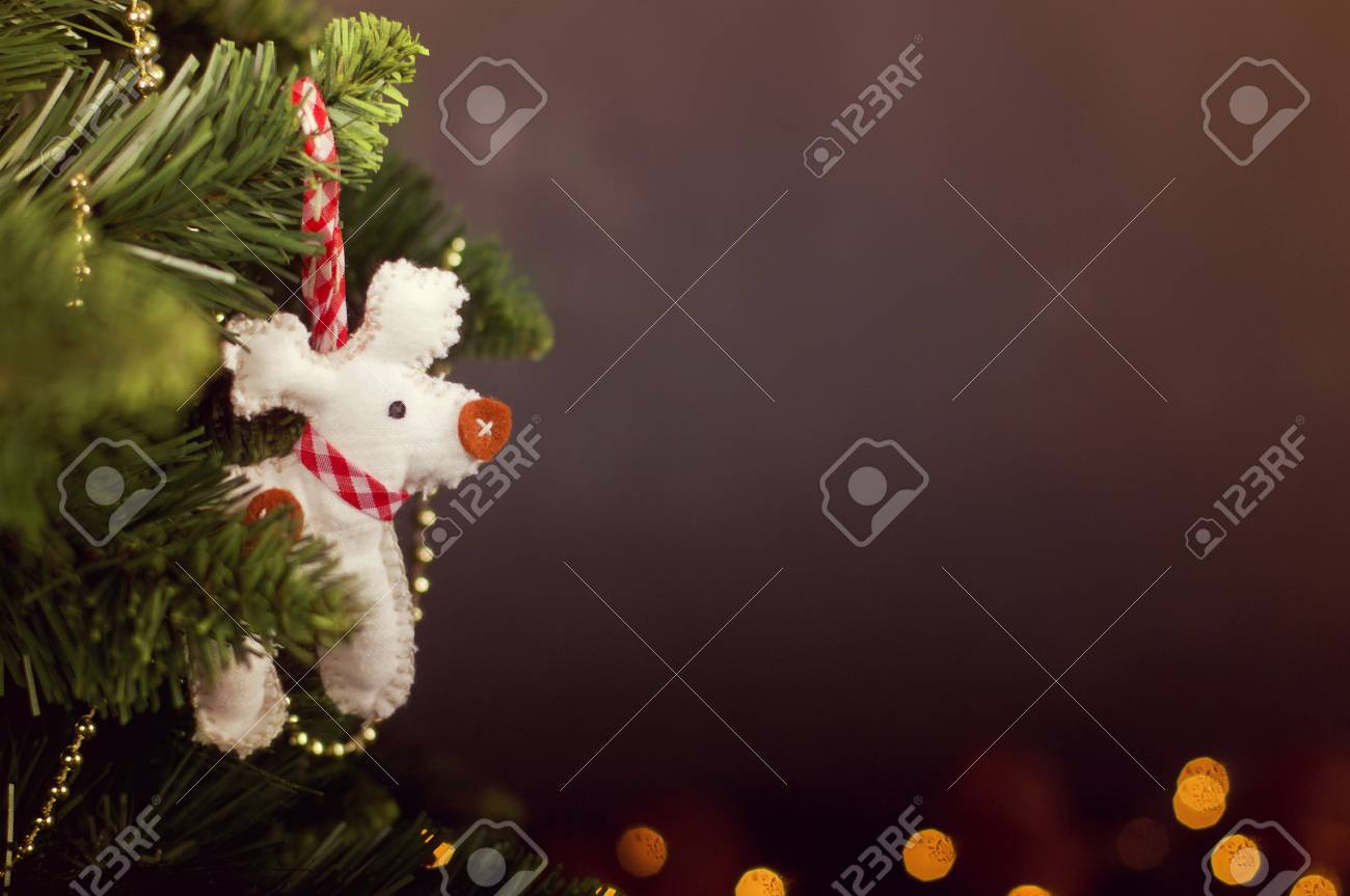 greating card christmas decoration calendar with pine and handmade white deer stock photo 66553817