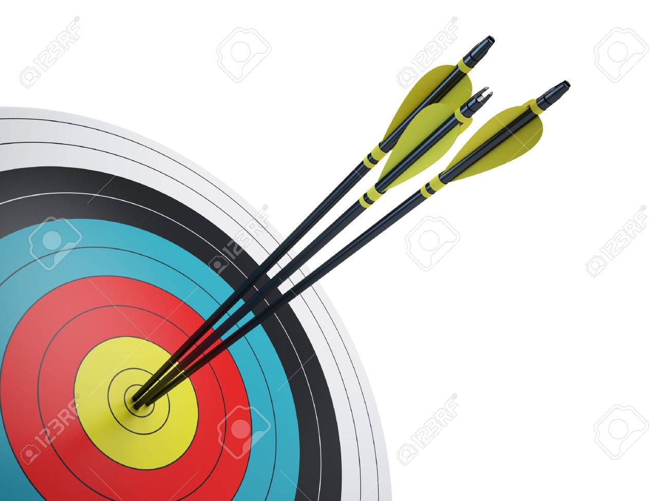 Arrows hitting the center of target - success business concept - 52134231