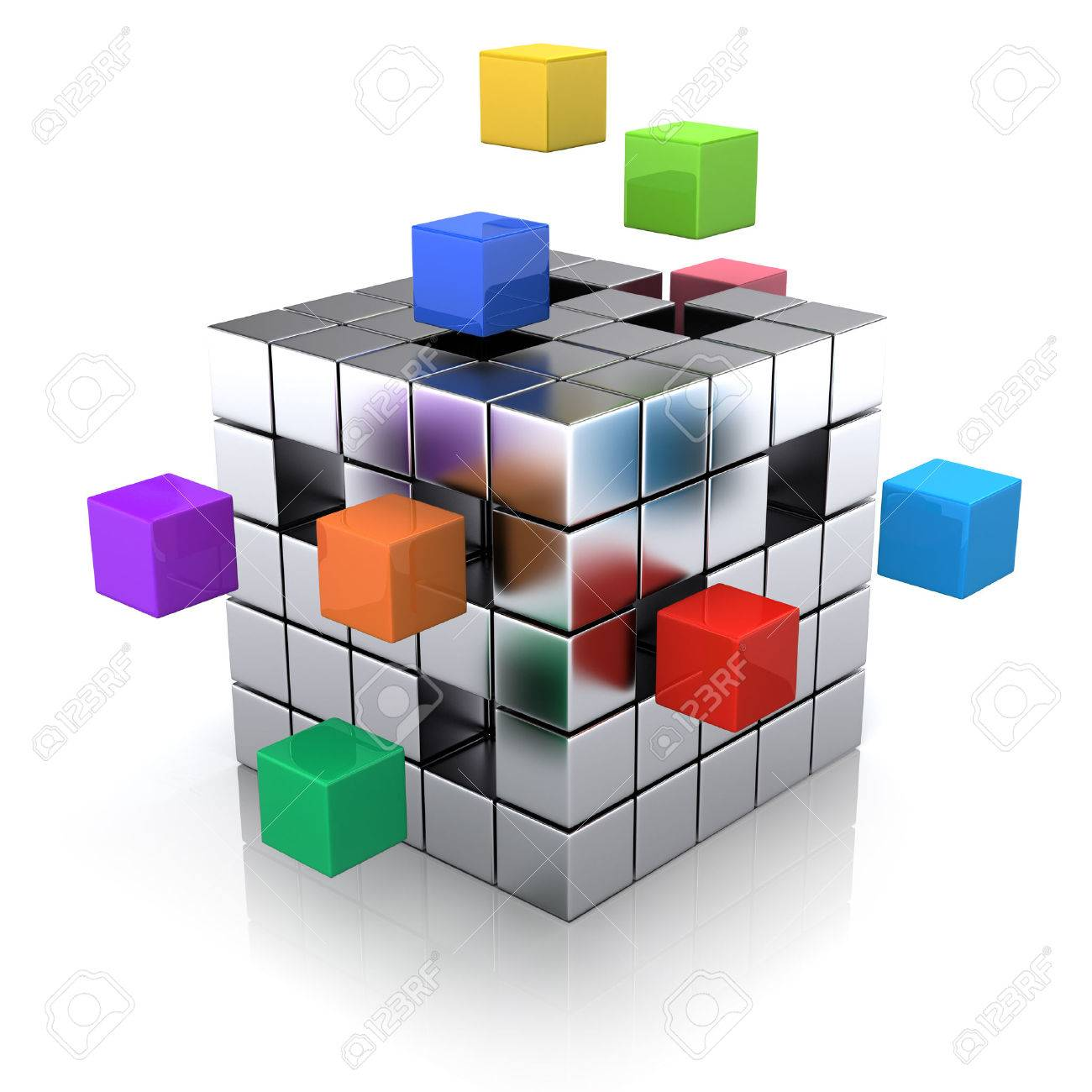business concept cube assembling from blocks stock photo picture