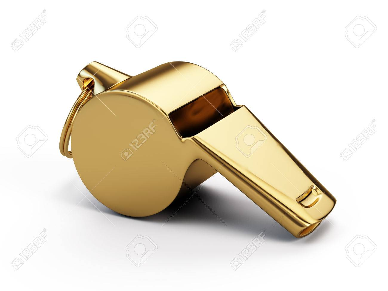 Gold whistle isolated on white - 58603380