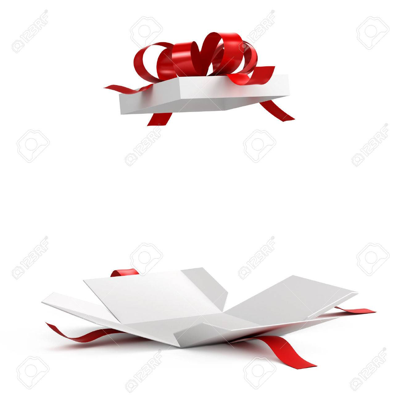 Open gift box with red ribbon on white background open gift box with red ribbon on white background 61991742 negle Gallery