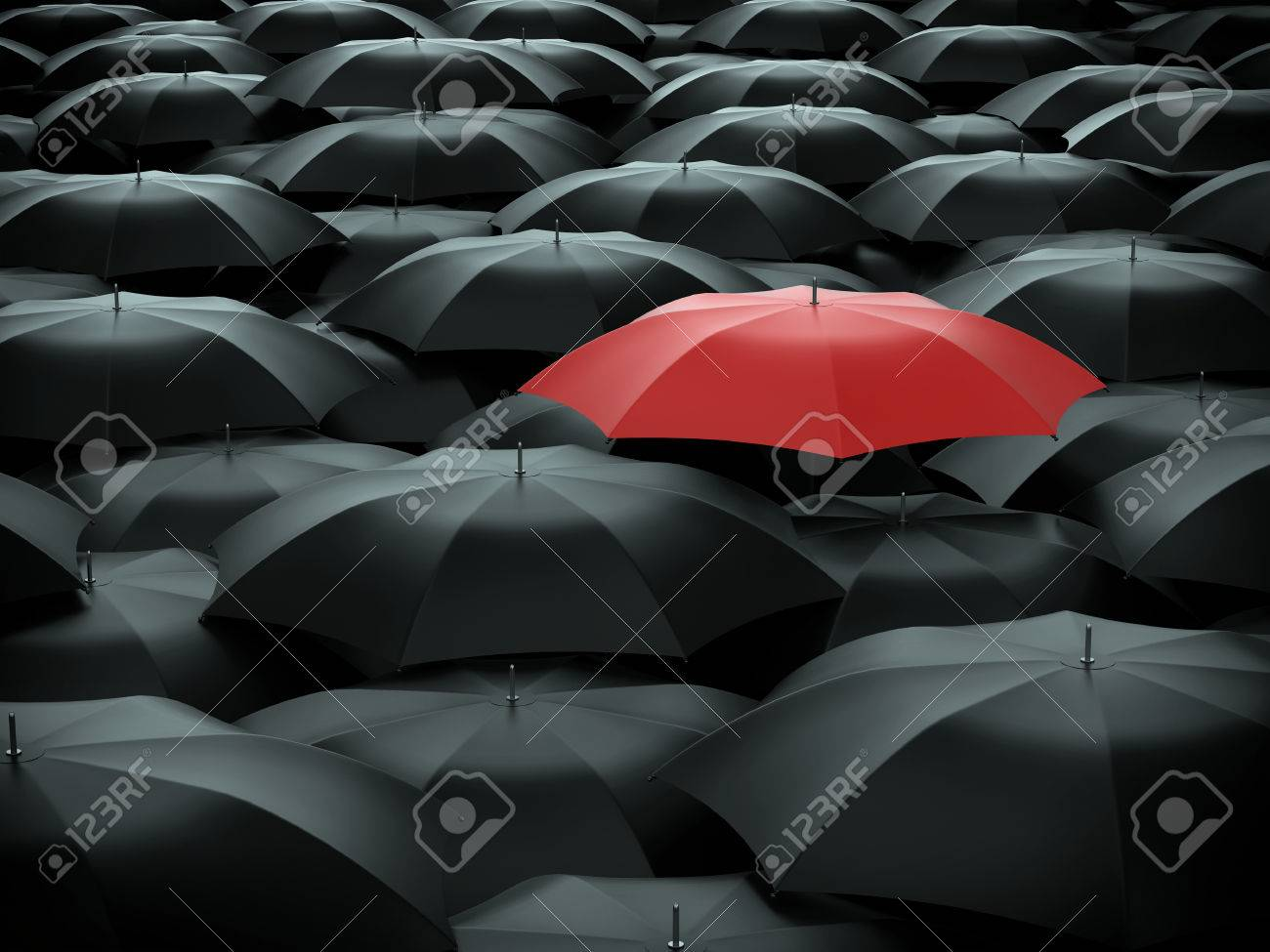Red umbrella over many black umbrellas - 61991816