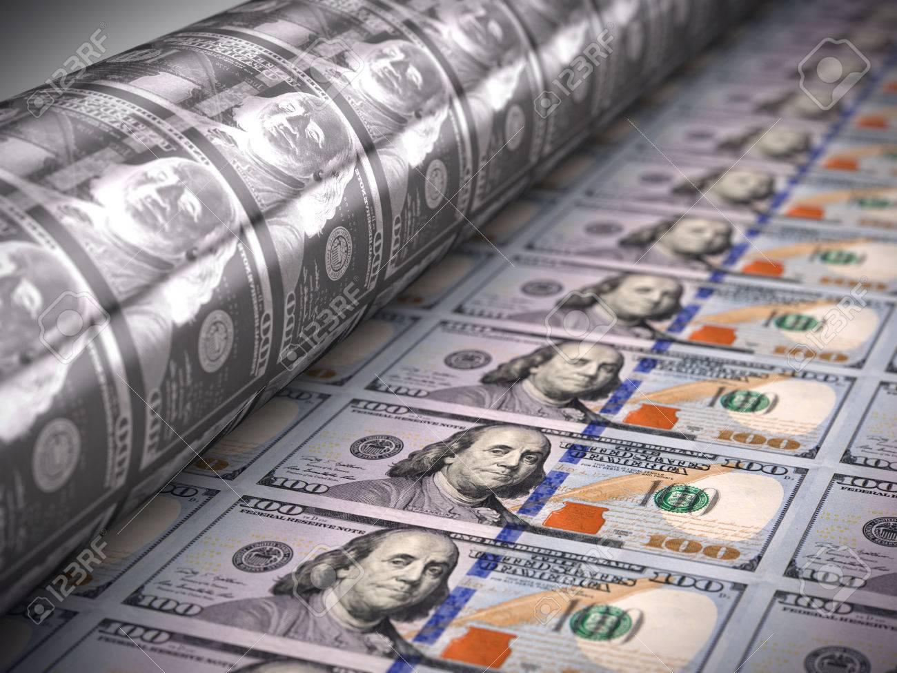 Printing money - 100 dollar bills - 64611905