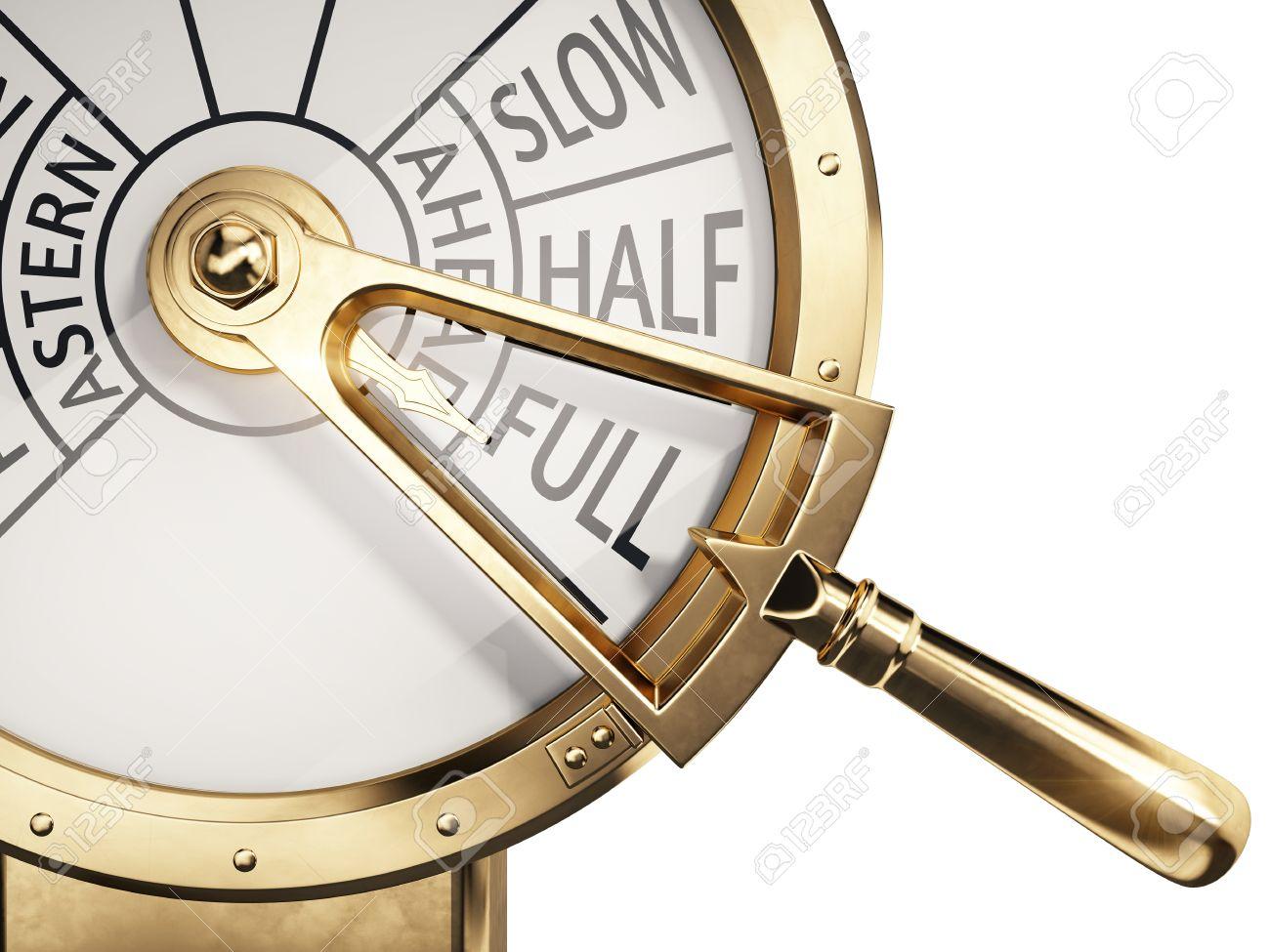 Full Ahead concept - Vintage ships engine room telegraph on full speed ahead - 66293368