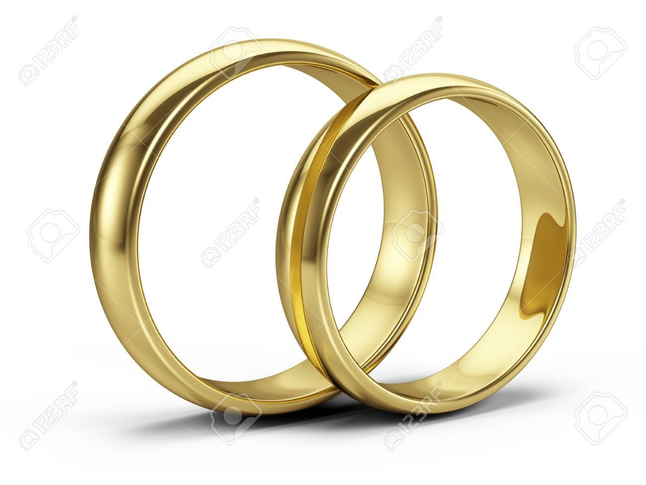 Paar Goldene Hochzeit Ringe Isoliert Auf Weiss 3d Darstellung