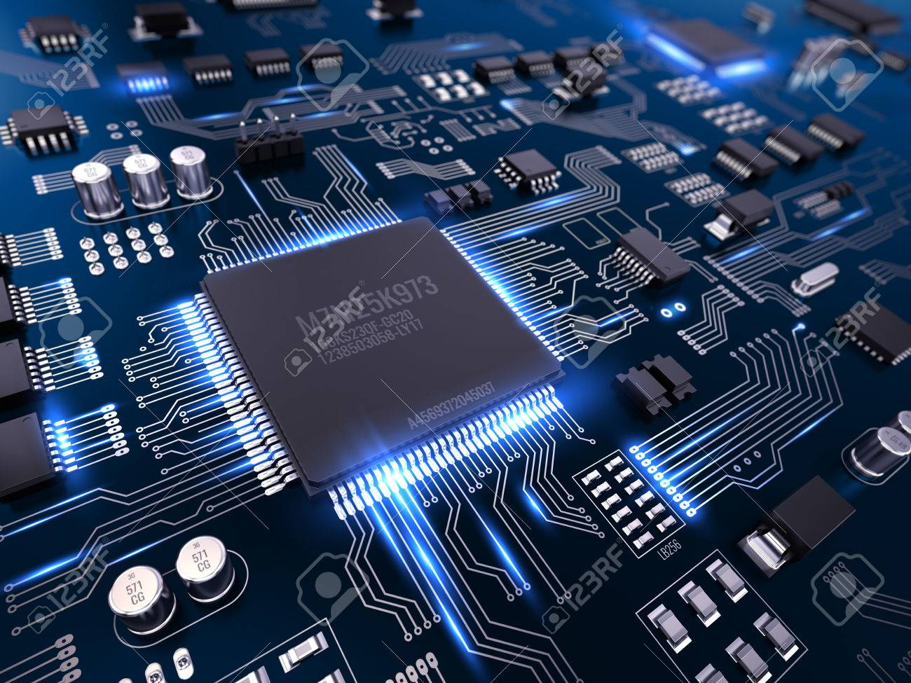 high tech electronic pcb (printed circuit board) with processorhigh tech electronic pcb (printed circuit board) with processor and microchips 3d illustration