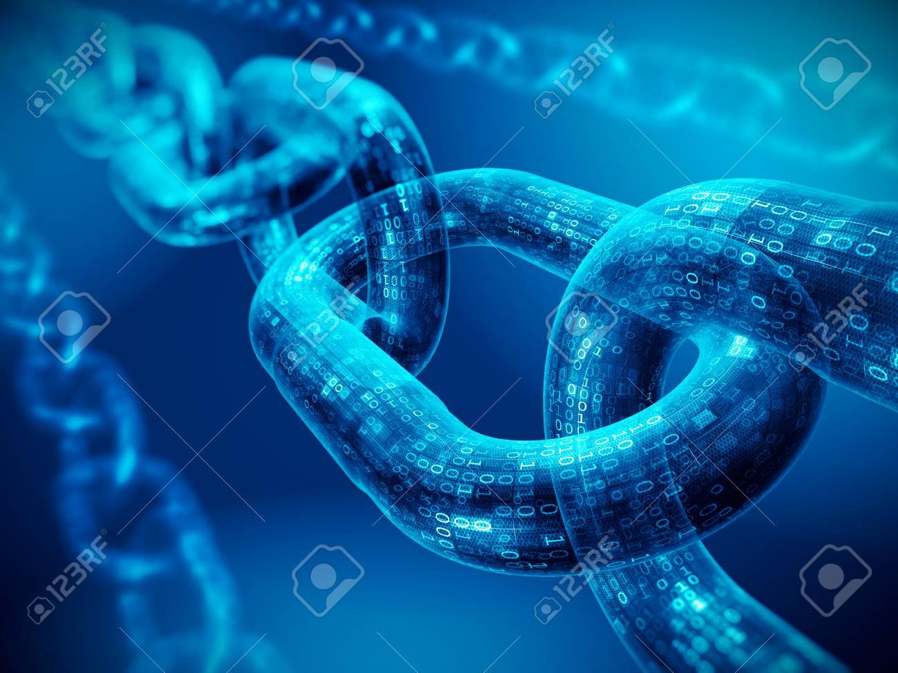 Block chain concept - digital code chain. 3d rendering - 90712520