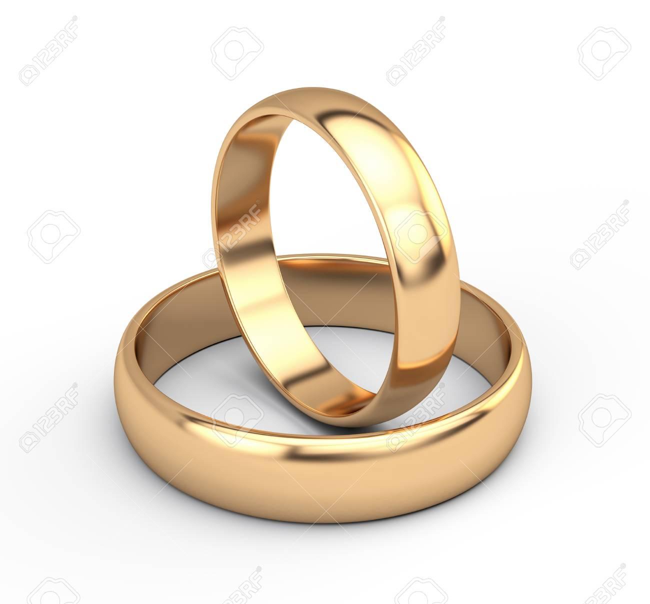 Golden wedding rings - 125873117