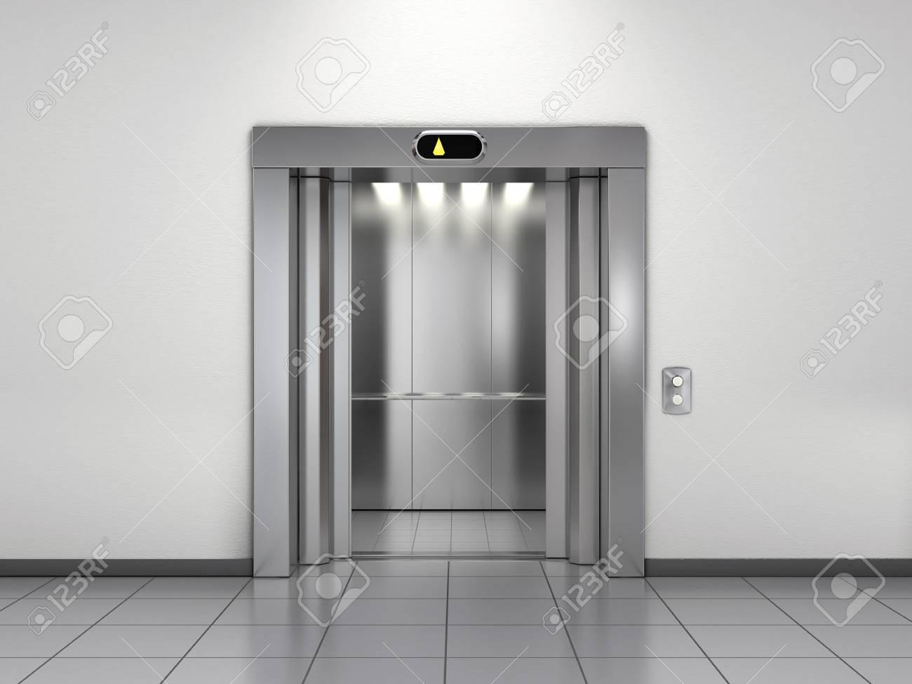 Modern elevator with open doors - 125873133