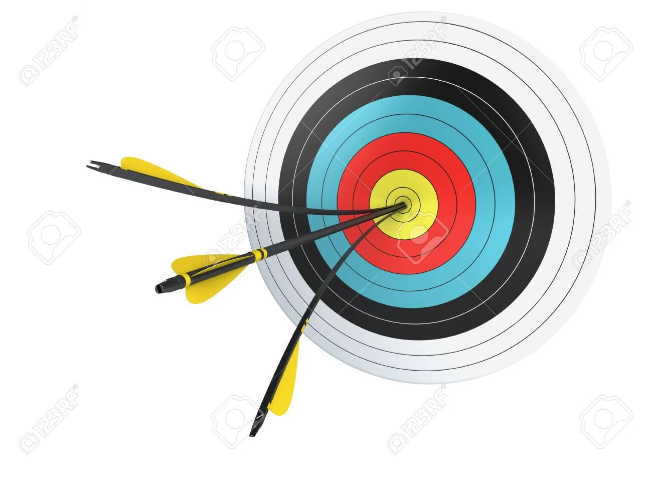 Arrow hitting the center of target - 130495321
