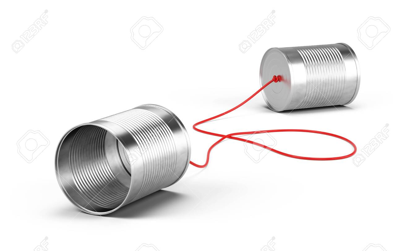 Tin cans phone isolated on white. Communication concept. 3d rendering - 148030447