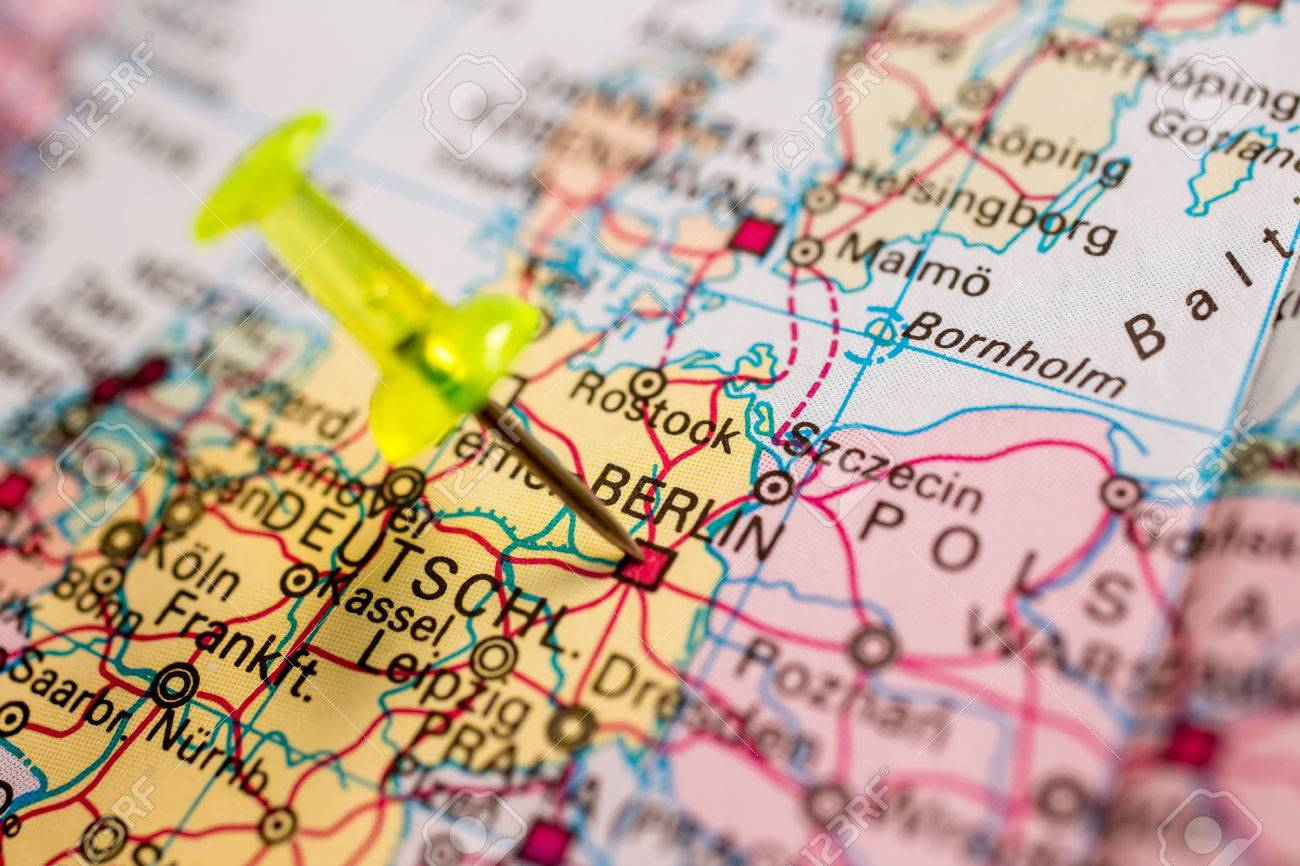 Close-up Of Colored Map Of Europe Zoomed In On Germany Stock Photo ...