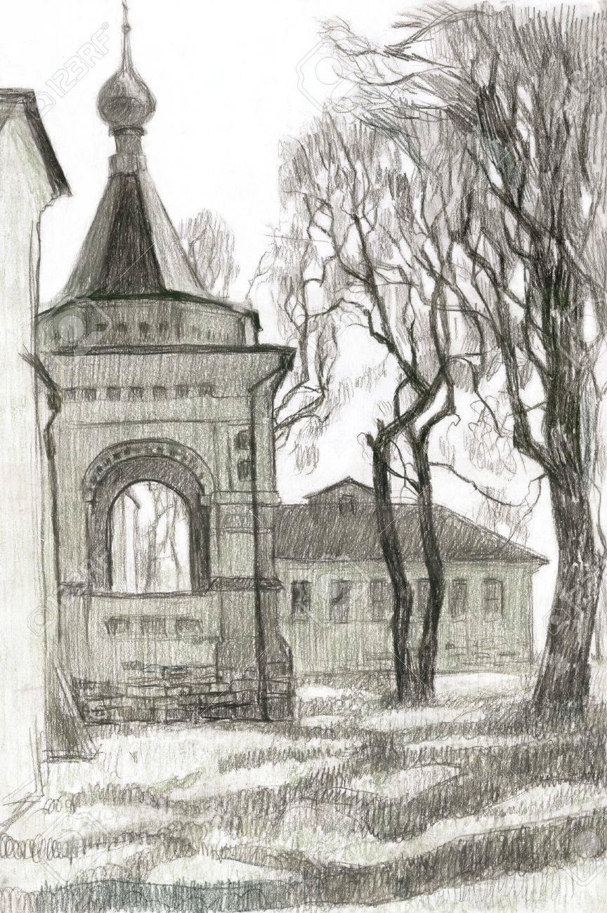 Kirche Und Bäume. Hand-Zeichnung. Sketch. Lizenzfreie Fotos, Bilder ...