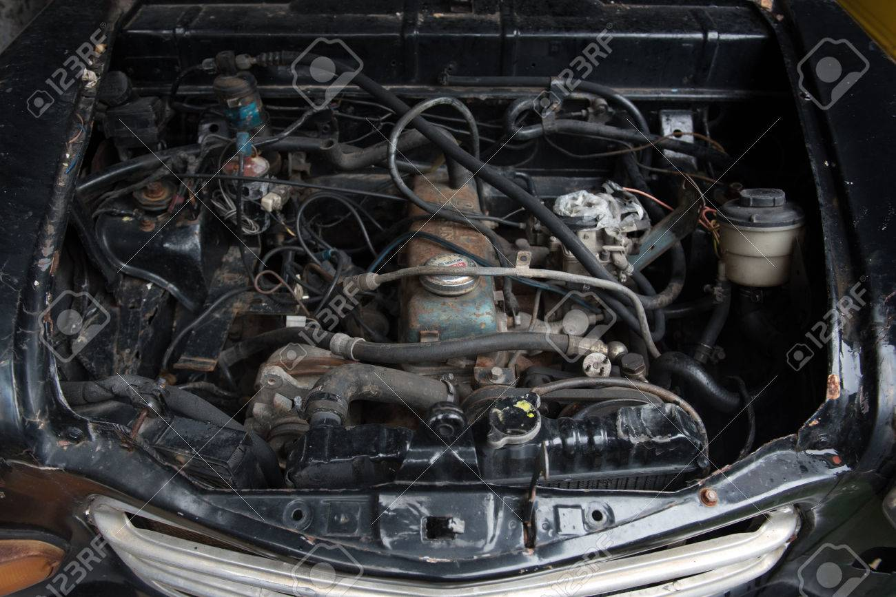 Old Car Engine Old Car Engine In Junkyard Stock Photo, Picture And ...
