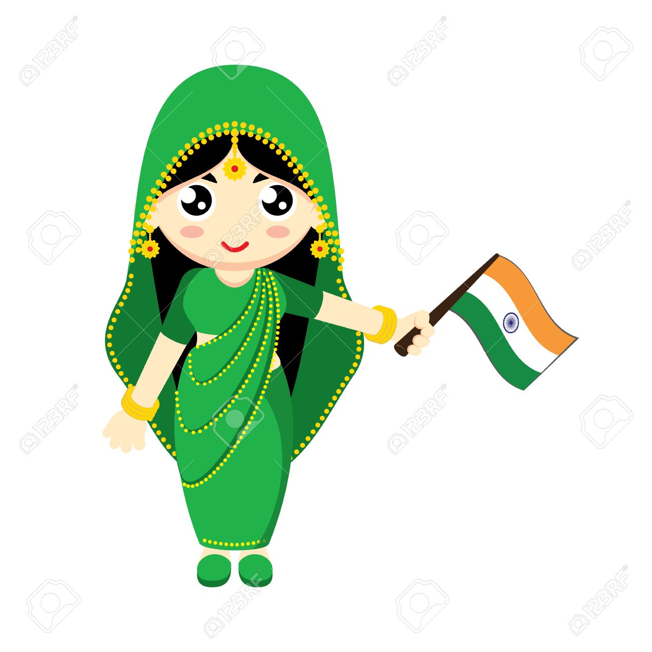 0c1eeabcd5 Little Girl Wearing Traditional Dress and Holding India flag. Vector  illustration. Stock Vector -