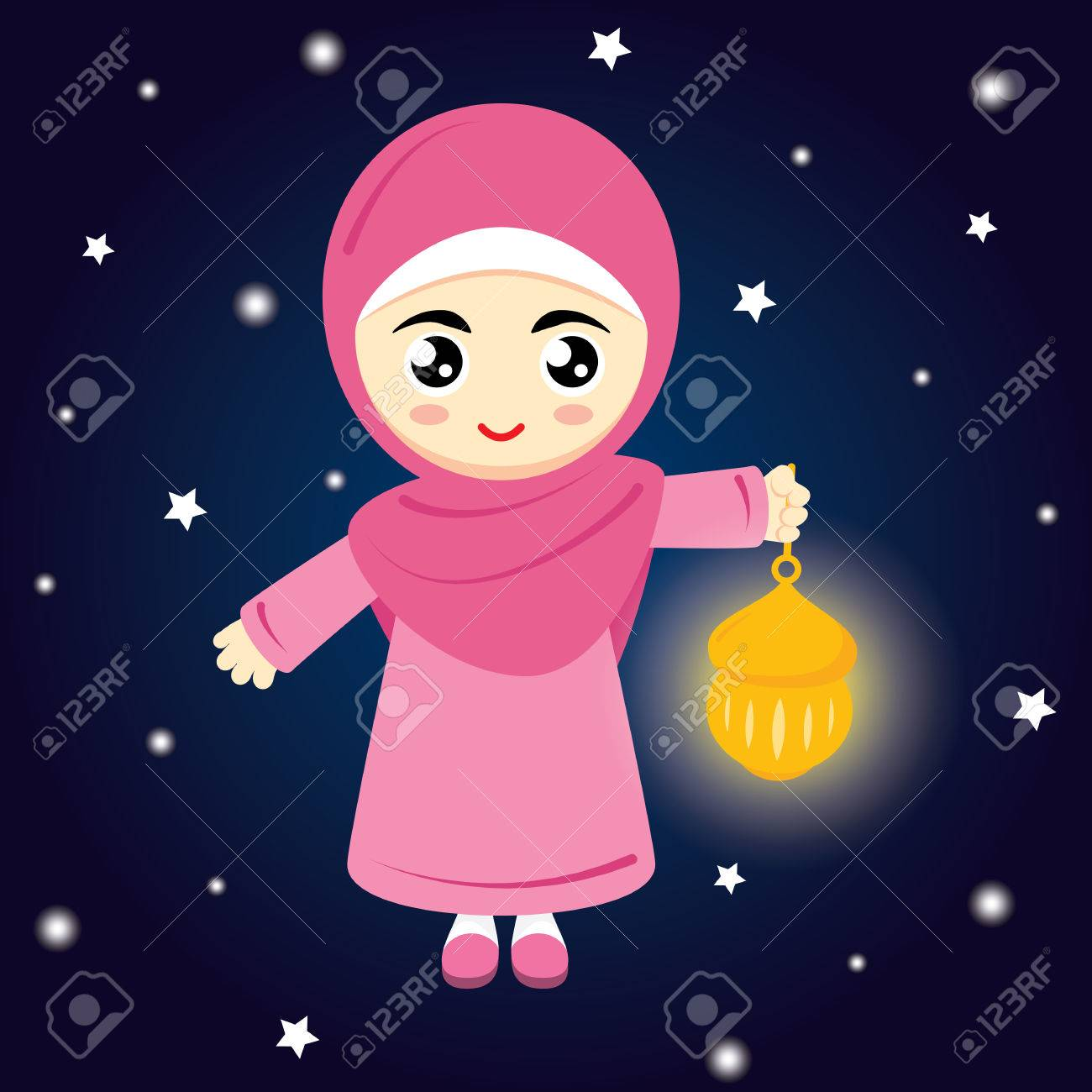Happy Ramadan. Little Girl Muslim Hold Lamp On Blue Background ... for Little Girl With Lamp  53kxo