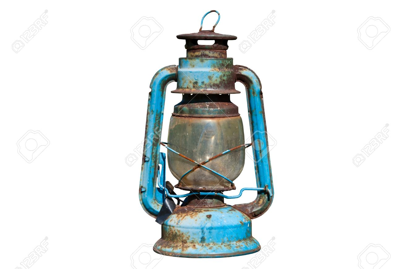 Old Rusty Oil Lamp In Isolated White Background Stock Photo ...