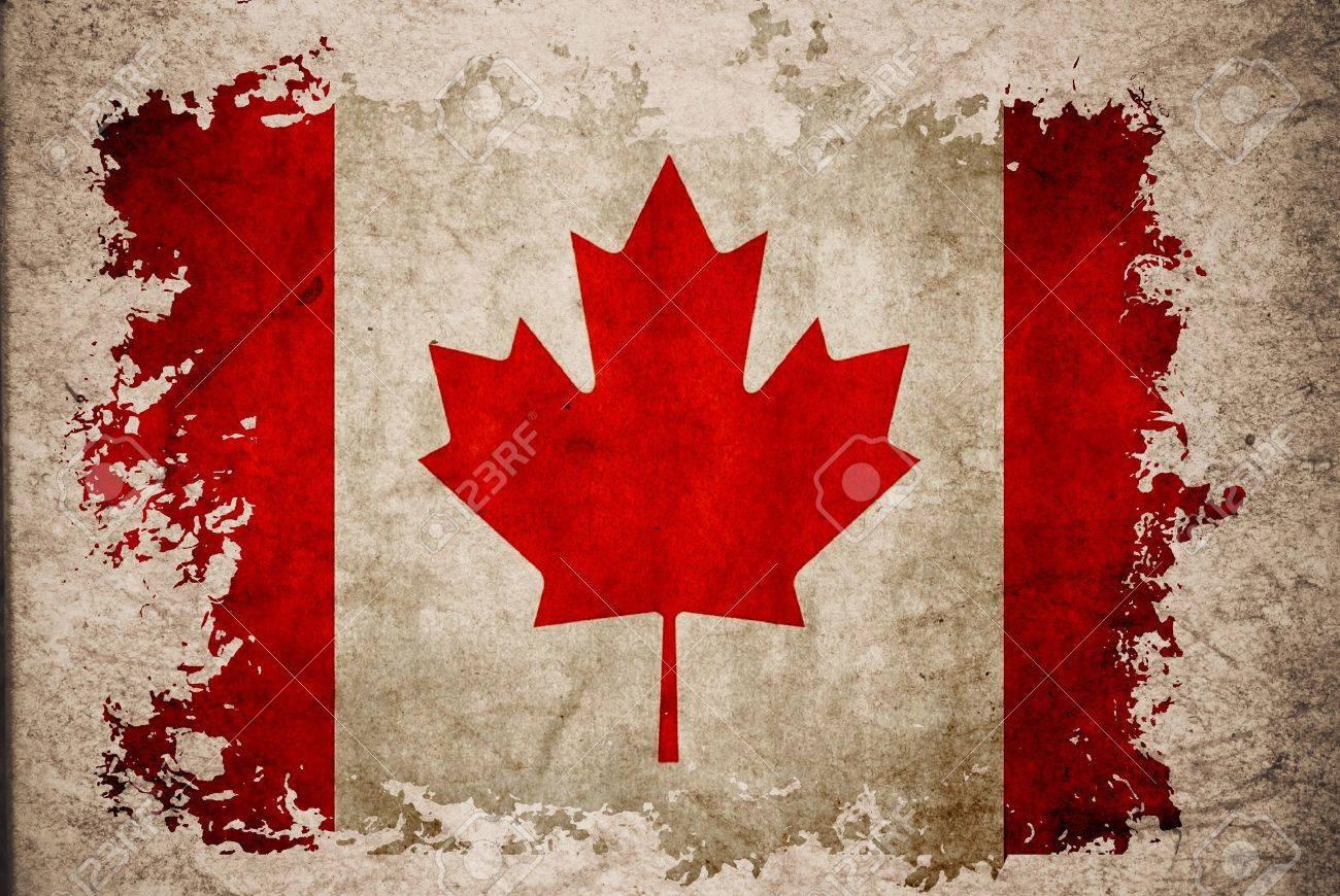 Kanada-Flagge Auf Alten Vintage-Papier, Kann Die Verwendung Für ...