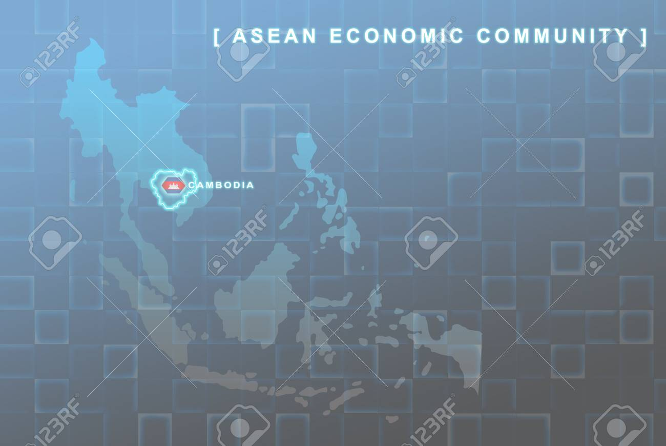 Modern map of South East Asia countries that will be member of AEC with Cambodia flag symbol in background Stock Photo - 16288271