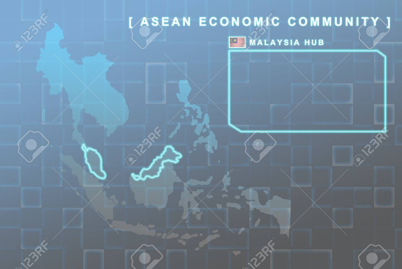 Modern map of South East Asia countries that will be member of AEC with Malaysia flag symbol in background Stock Photo - 16288410