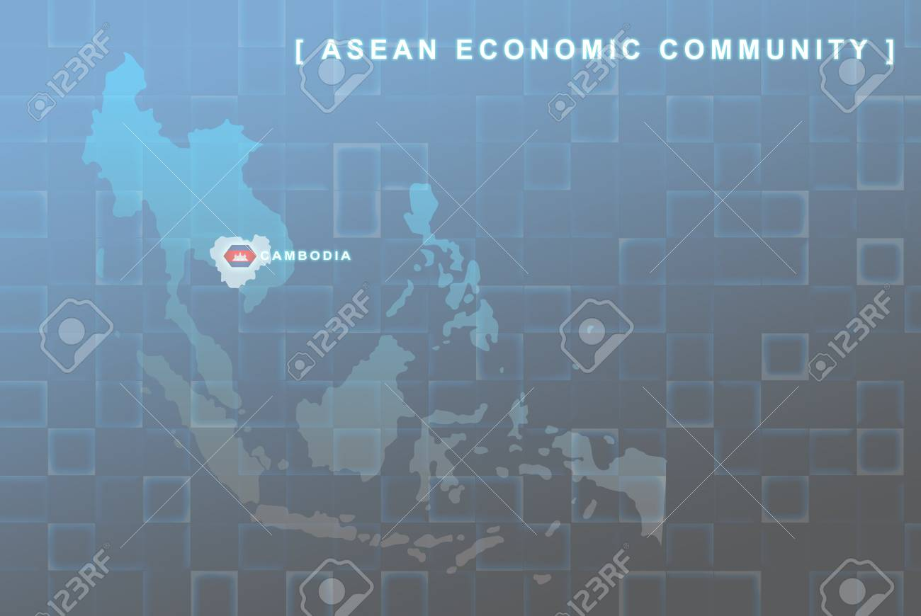 Modern map of South East Asia countries that will be member of AEC with Cambodia flag symbol in background Stock Photo - 16439122