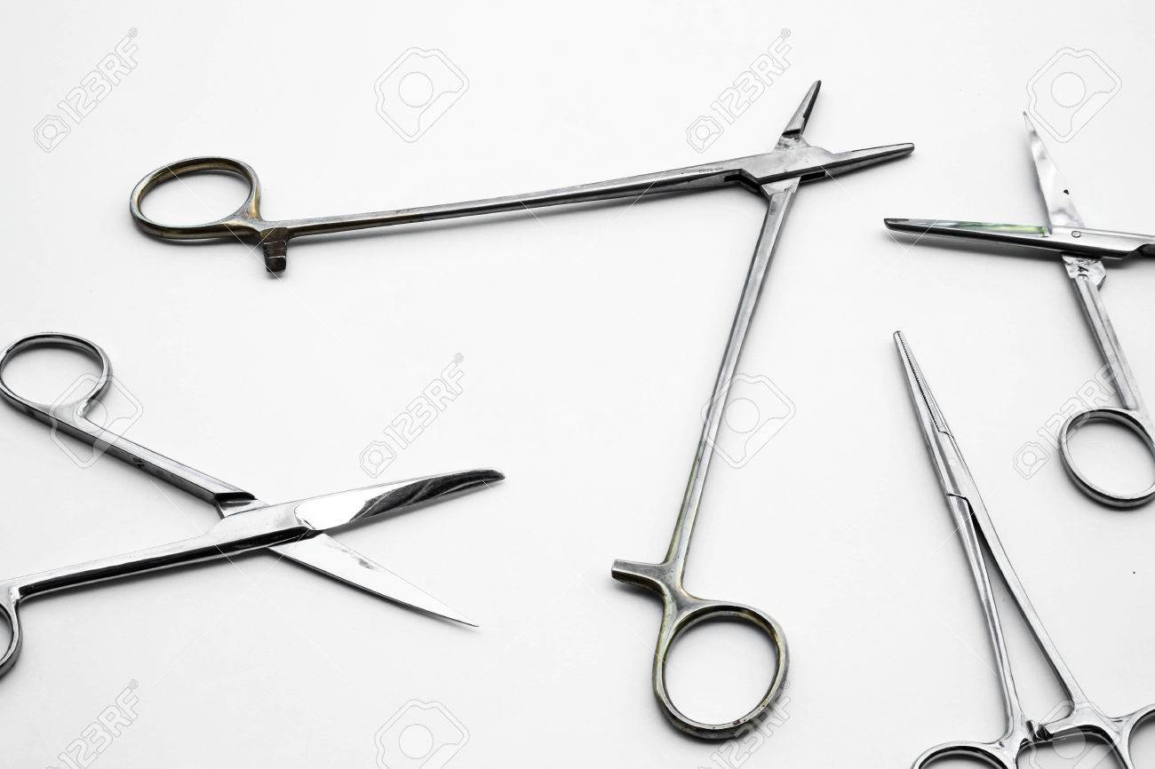 Abstract Old Instruments For Surgery Tools On White Background ...