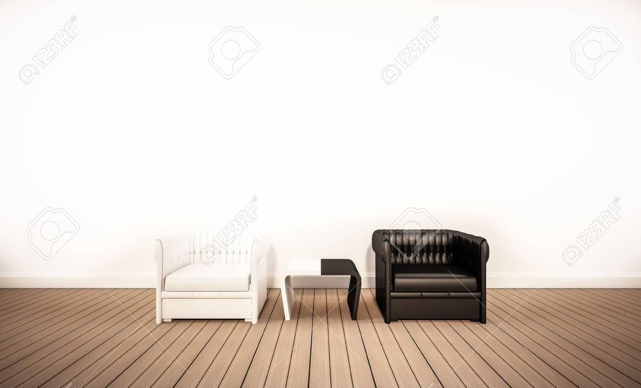 Eichenholzboden Und Weiße Wand, Mit Kontrast Schwarz-Weiß-Sessel, 3D ...