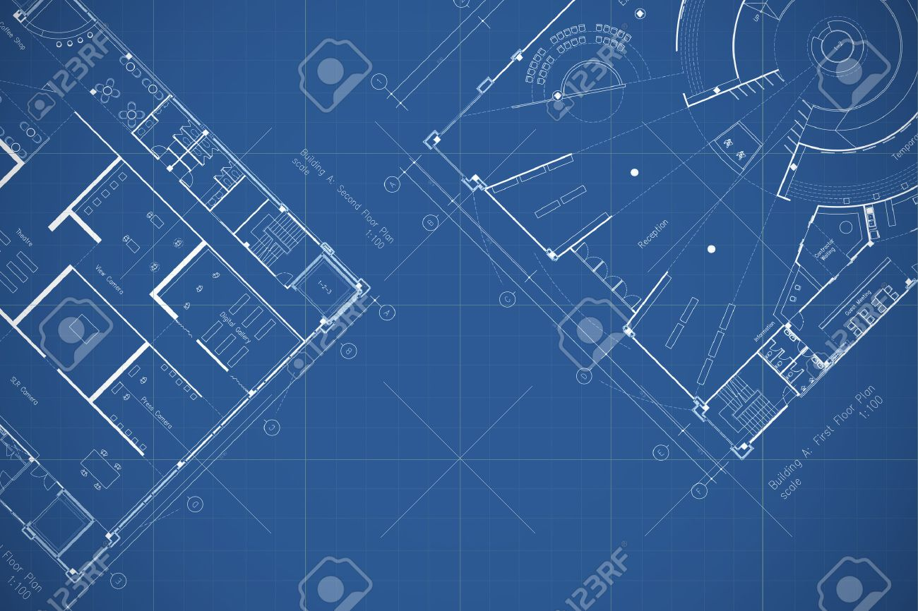 Architecture Blueprint Floor Plan Stock Photo Picture And Royalty