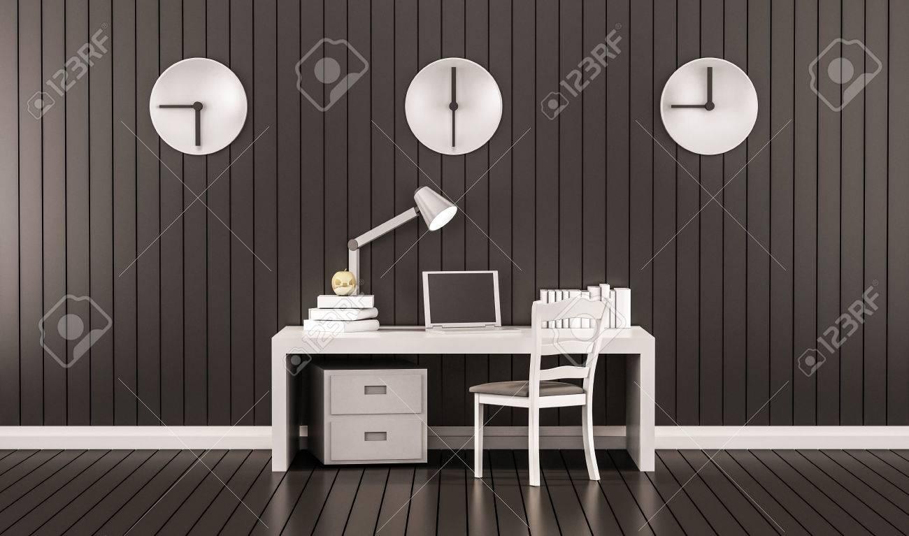 Arbeitsraum, Tisch, Stuhl, Laptop, Schrank Bücher Und Goldenen Apfel ...