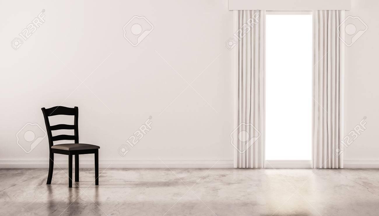 Une Chaise Sur Le Sol En B Ton Cir Avec Mur Blanc Et Une Fen Tre