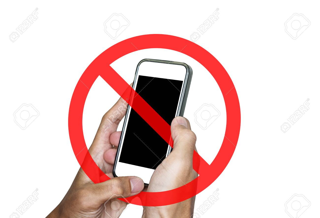 no phone or taking a photo not allow sign isolated on white background stock