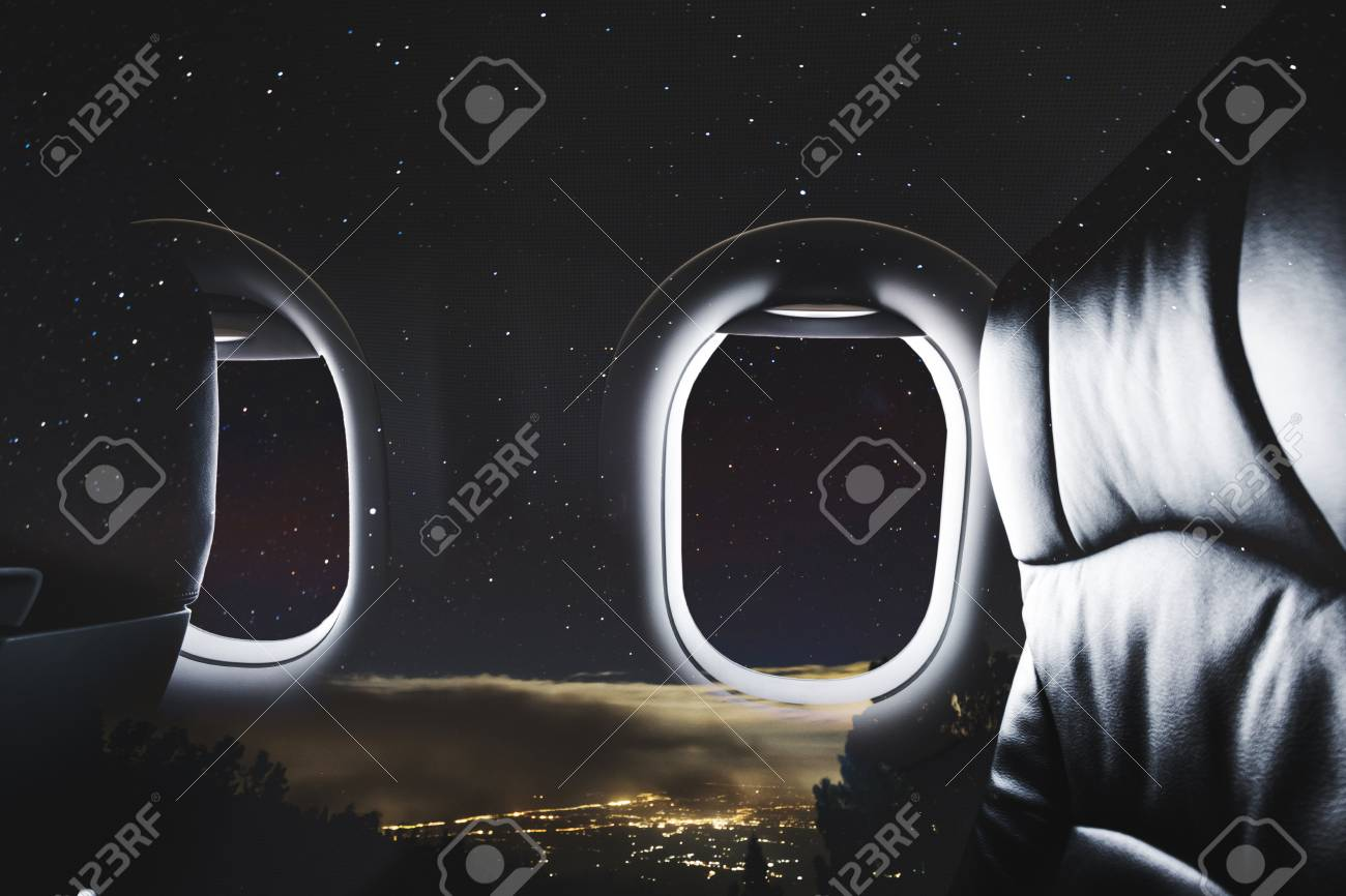 Double Exposure Airplane Window With Seat And Night Sky With