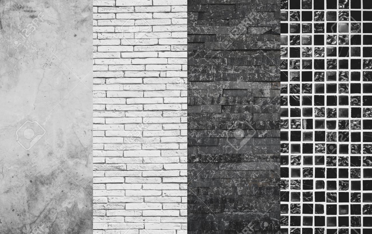 Concrete, Bricks, Stone Slate And Mosaic Tiles Texture, Wall.. Stock ...