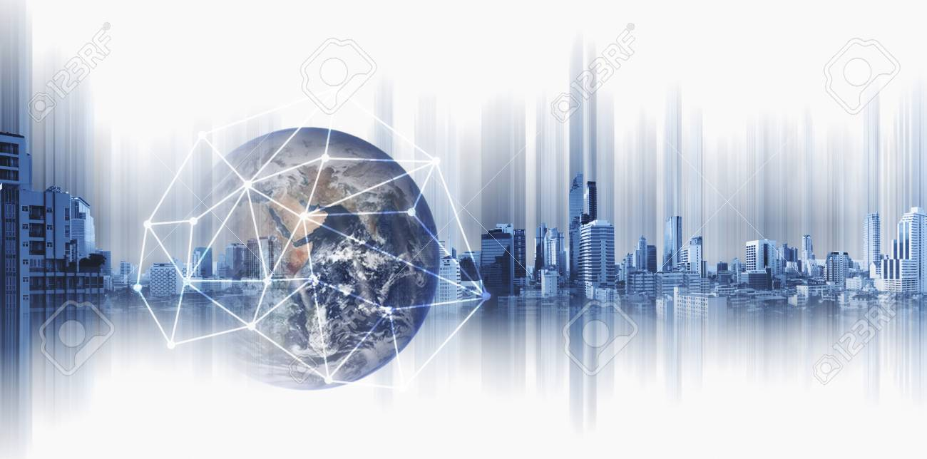 Global business and networking, Double exposure Globe with network connection lines and modern buildings, on white background. - 94526242