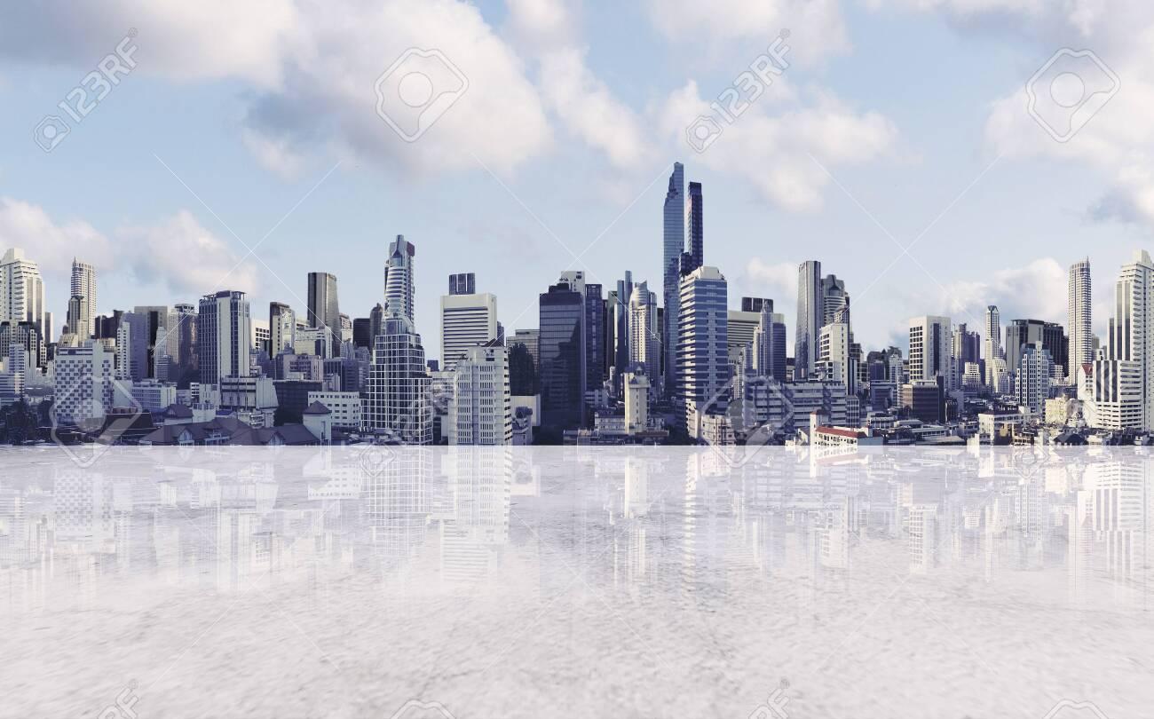 Panoramic city view with empty concrete floor - 132064395