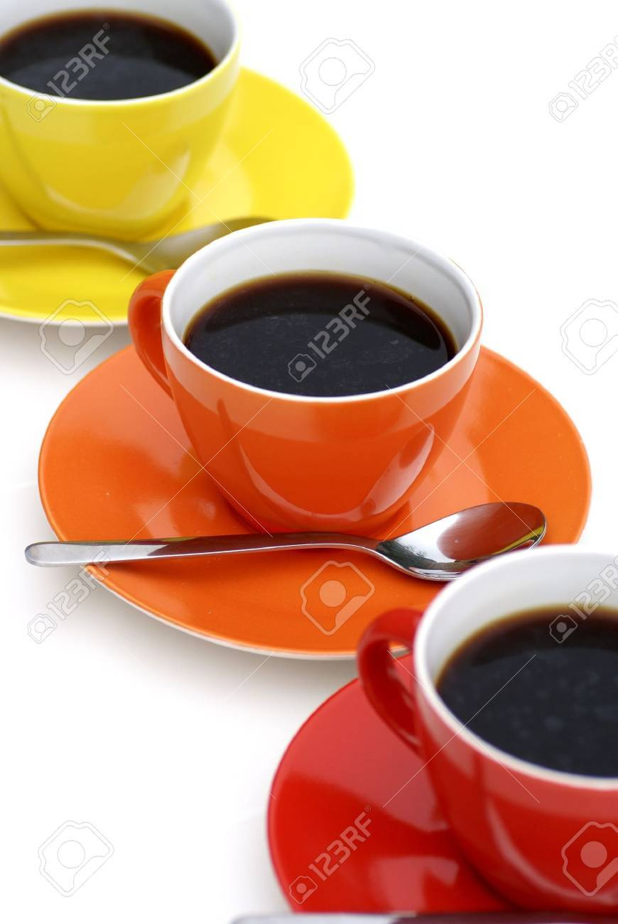 Cups of coffee in diagonal line. Stock Photo - 1341647