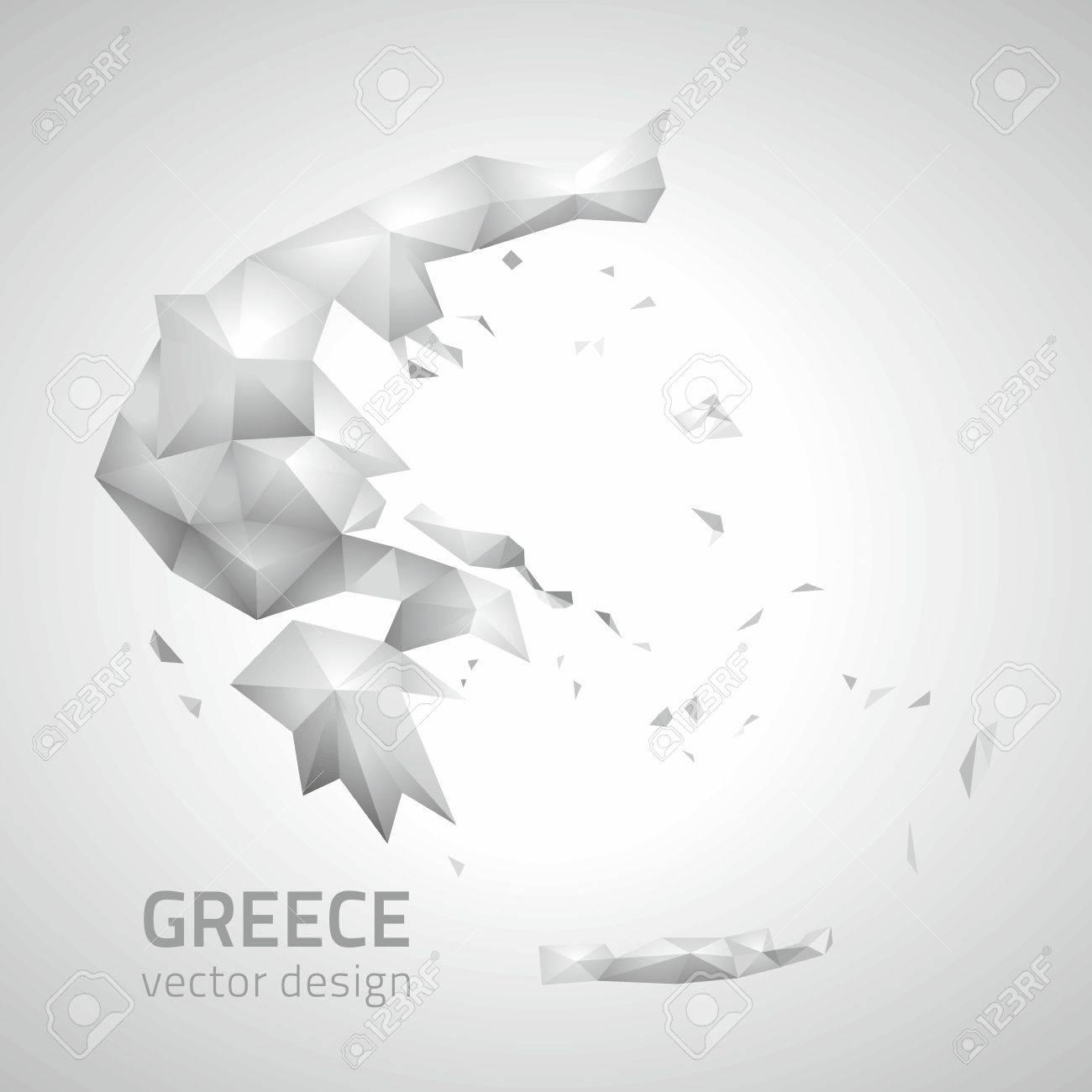 Greece vector polygonal modern map of Europe