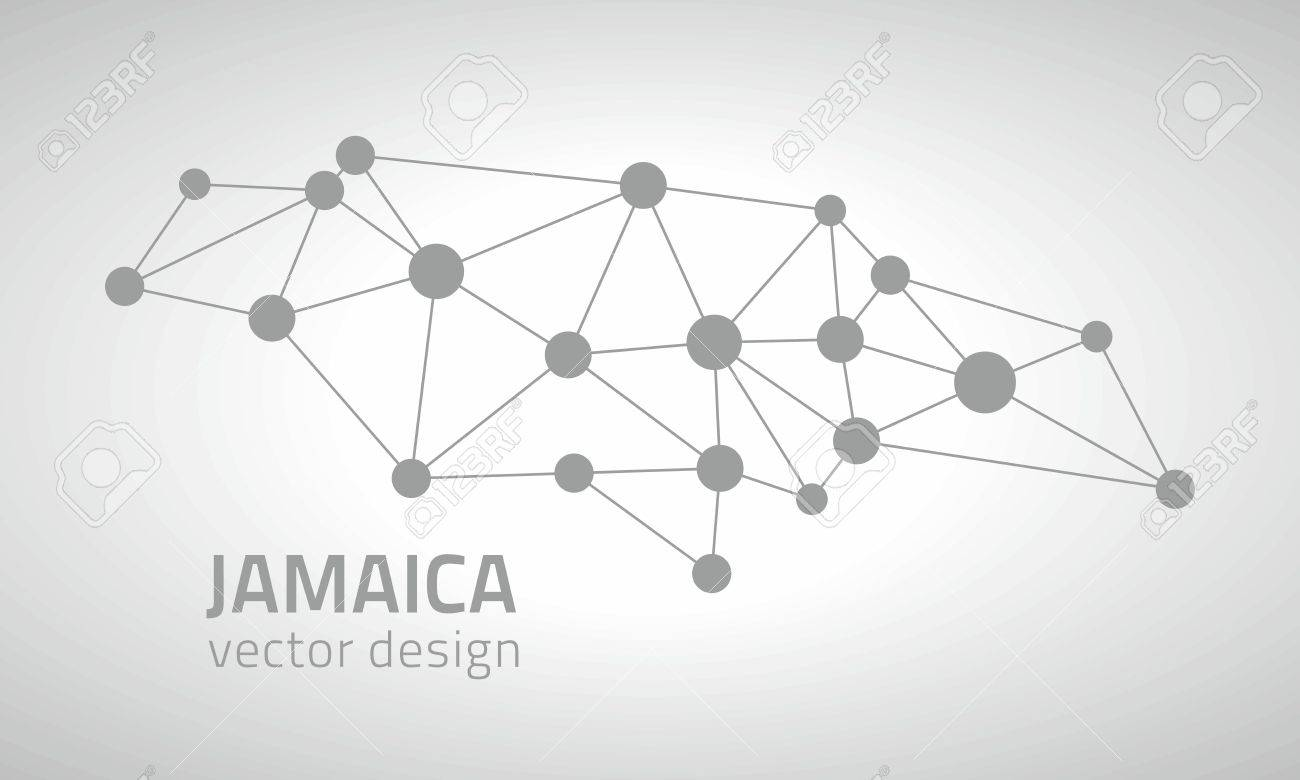 Jamaica Gray Vector Outline Map Of America Royalty Free Cliparts ...
