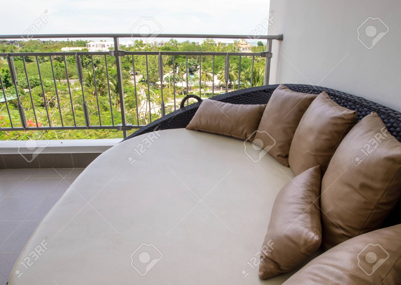 Waterproof Pillowcase And Mattress Cover Of Outdoor Daybed At Stock Photo Picture And Royalty Free Image Image 80080929