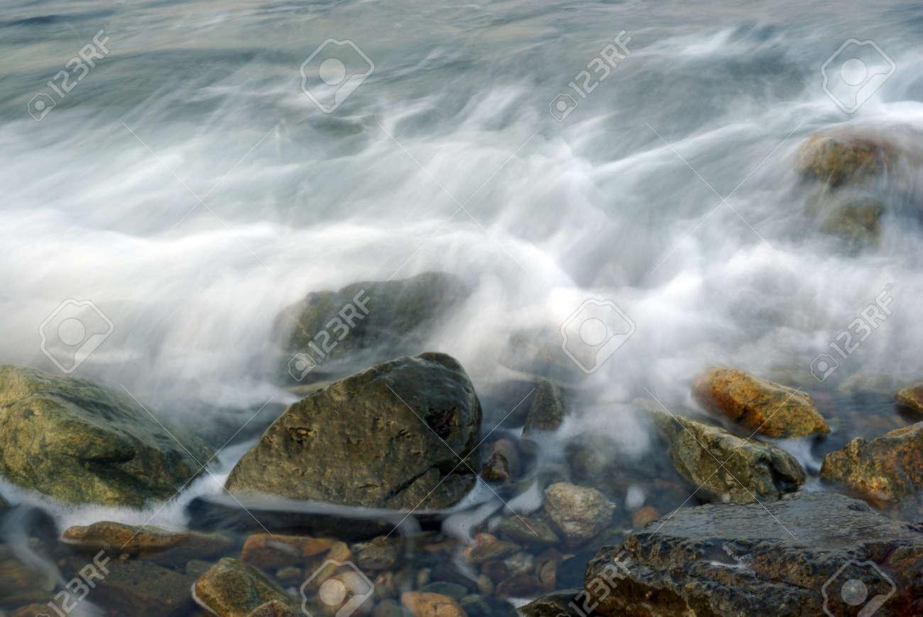 Turbulence sea water and rock at Coastline - 171433040