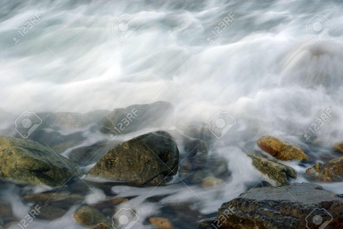 Turbulence sea water and rock at Coastline - 171433045