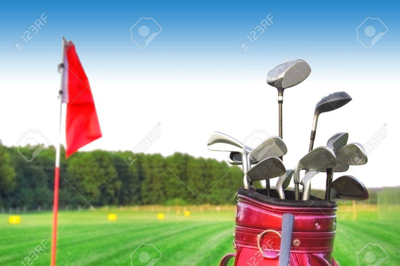 Golf game. Golf clubs in bag against the golf course. Stock Photo - 7971718