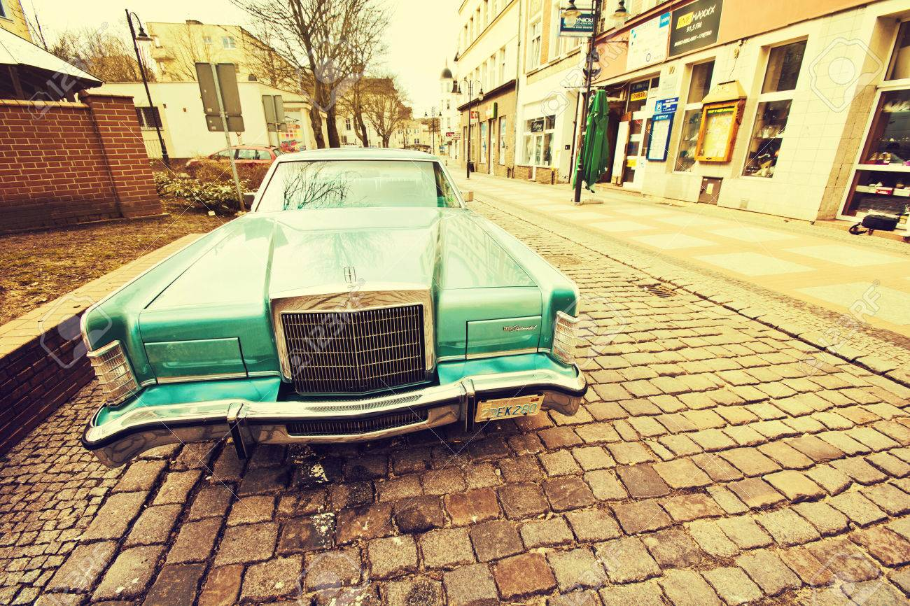 Lincoln Continental Car Slupsk Poland 10 May 2016 Old Retro