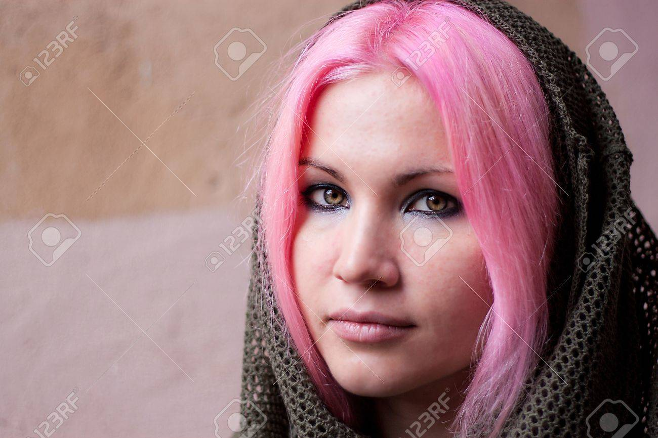 We see young beauty woman with pink hair with scarf on her head Stock Photo - 10363586