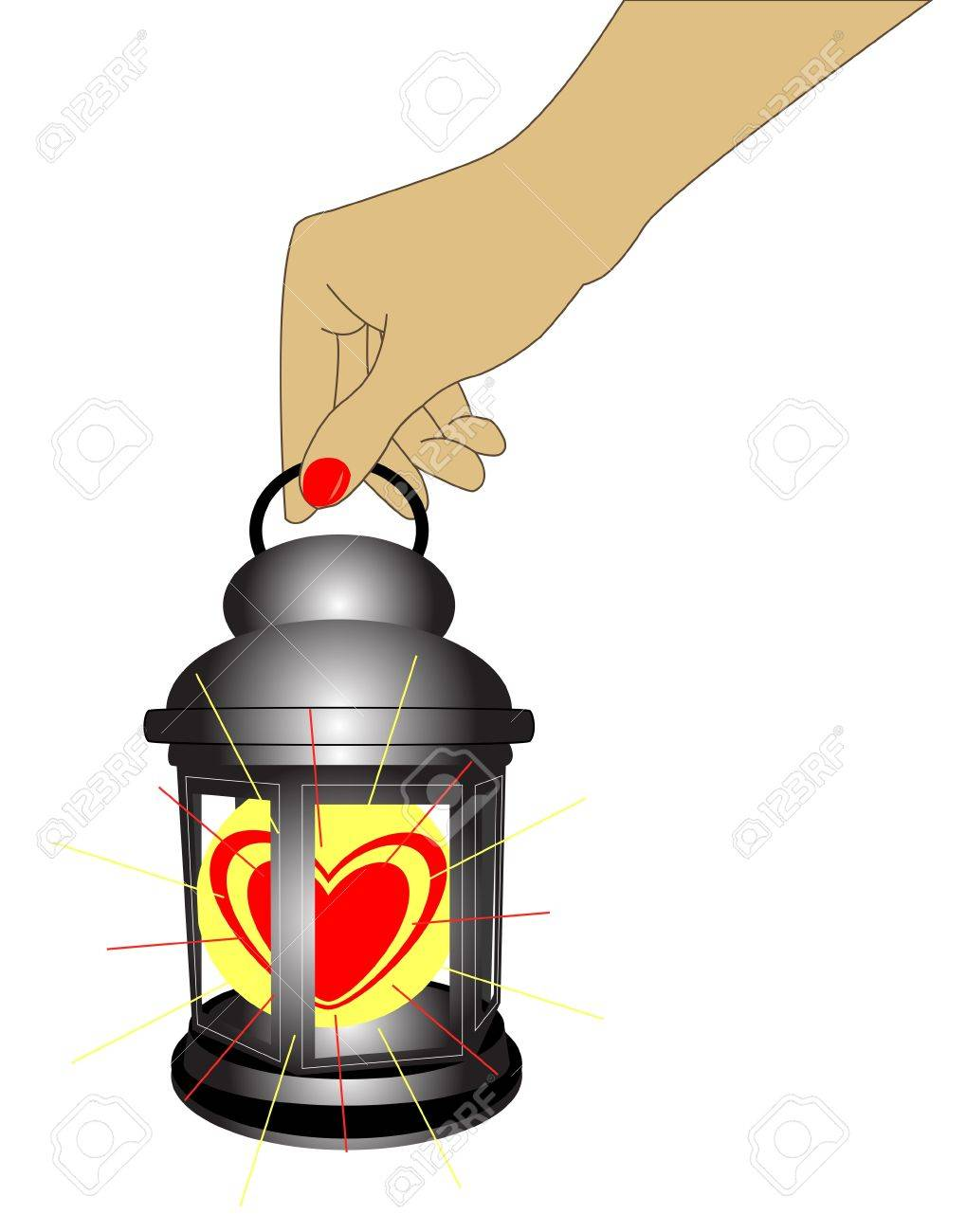 A Hand Holding An Old Style Lantern With Heart Stock Vector