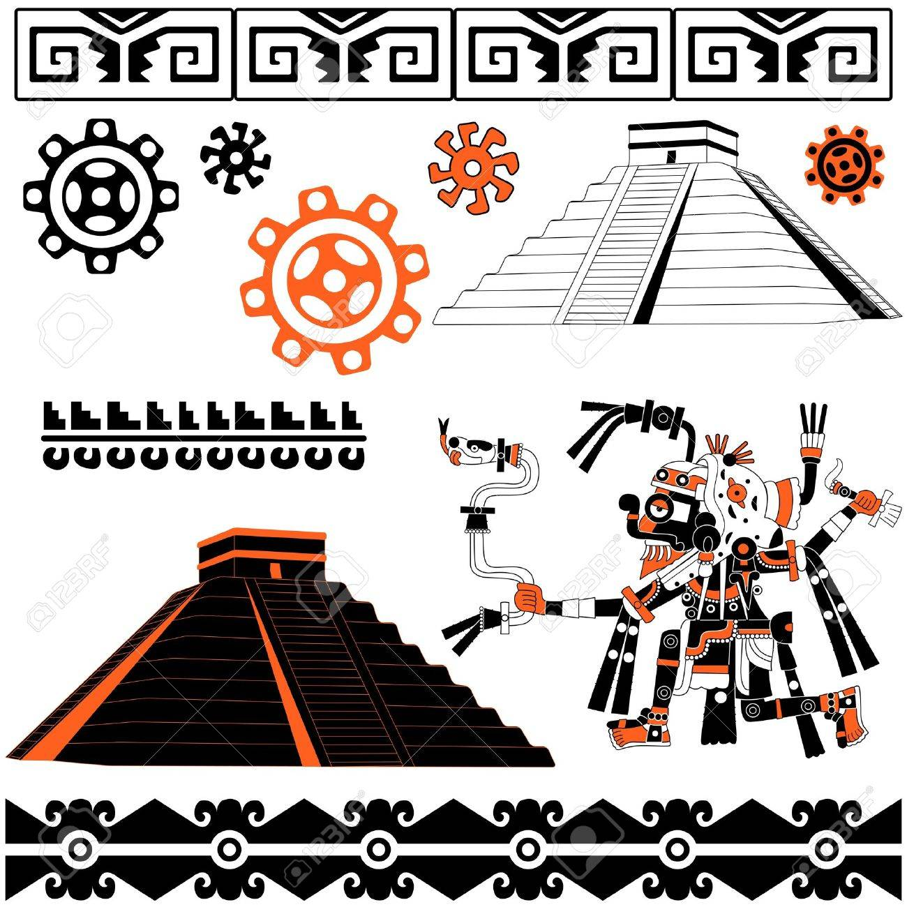 Image of ancient american patterns with ornaments and pyramids Stock Vector - 11303687