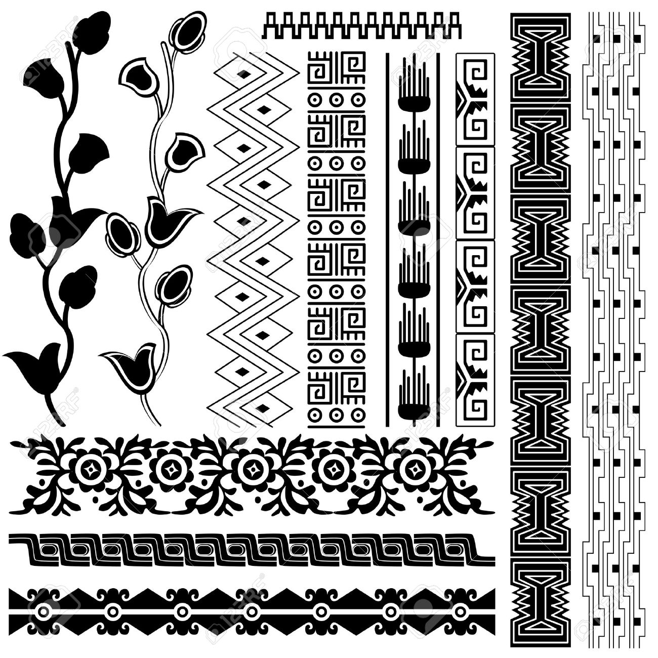 Aztec Designs And Patterns Pattern on White Aztec